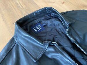 mens black gap leather jacket medium