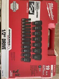 """Milwaukee 49-66-7012 SHOCKWAVE 1/2"""" Impact Duty SAE Socket Set  - 19 PC"""