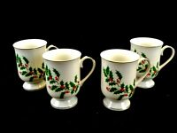 MACY'S ALL THE TRIMMINGS Porcelain Holiday Mugs (set of 4), White w/ Gold Trim
