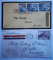 (2) 1949-50 Air Mail Covers from Bermuda to Kingston NY