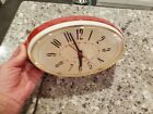Vintage General Electric GE Red & White Retro Kitchen Wall Clock WORKS!