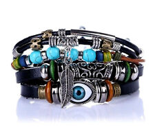 Real Leather Evil Eye Surfer Multi Layer Beaded Bracelet Bangle Wristband Cuffs