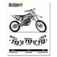2004-2009 HONDA CRF 250 Zebra Dirt Bike Graphics Motocross Custom Number Plates