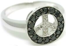 Peace Black & White Diamond 9ct 9K Solid Gold Ring - Sz N/7.0 - 30 Day Refund