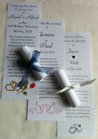 50 Personalised Wedding Favour Scrolls + organza on cream white pink blue green