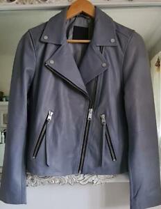 All Saints Dalby Leather Biker Jacket Sky Blue Size 14 BNWT £329