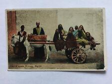 Egypt Vintage colour Postcard c1910 Cart of Arabic Women