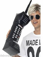 Smiffys Inflatable Retro Mobile Phone 80s Fancy Dress Large Black Brick Phone BN
