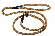 STRONG Rolled ROPE Dog Training Lead CHOKER; LEATHER FINISH; 120 & 180 cm long