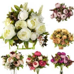 13 Heads Silk Peony Artificial Flower Wedding Bouquet Xmas Party Valentine Day