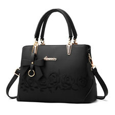 Women Handbag Tote Purse Flower Embroidery Shoulder Crossbody Pu Leather Bag*