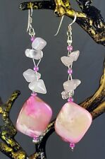 Rose Quartz & Pink Shell Hand Made Gemstone Drop Earrings 925 solid Silver Hooks