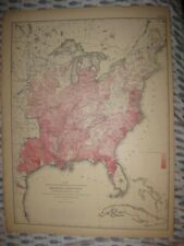 ANTIQUE 1874 UNITED STATES MALARIA DISEASE MEDICAL MAP PRINT FLORIDA TEXAS