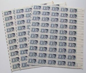JOHN F. KENNEDY (1964) - 3 Full Sheets 150 Vintage Postage 5 Cent Stamps