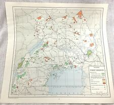 1967 Vintage Map of Uganda Africa Forest Reserve National Park Plantation Woods