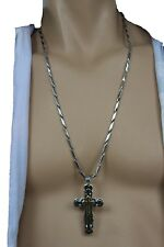 New Men Silver Stainless Steel Metal Chain Necklace Gold Cross Pendant Religious