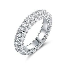 18k White Gold Plated Cubic Zirconia Eternity Band Size 7 NWT NEW Sparkly