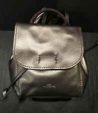 New Coach 16605 Derby Leather Backpack Metallic Gunmetal Silver
