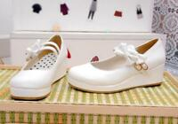 Womens Platform Wedge Heels  Mary Jane Bowknot Lolita Creepers Pump Buckle Shoes