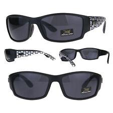 b45a55f19fd0b Locs Crânio impressão Braço De Plástico Retangular Warp óculos de sol  gângster Biker