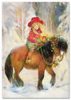 Little Girl and PONY in Forest Christmas Tree by Lisi Martin NEW postcard