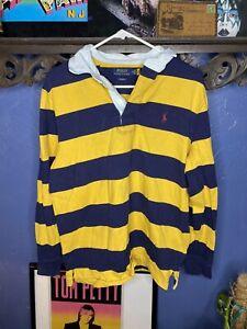 Polo Ralph Lauren Rugby Long Sleeve Shirt Mens Medium Yellow Blue Preowned