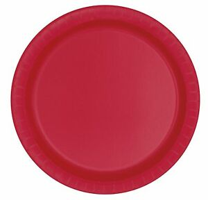 Ruby Red 22cm Paper Party Dinner Plates Celebration Anniversary BBQ 1-48pk