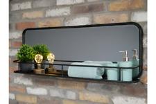 Urban Modern Black Metal Bathroom Mirror with Cosmetics Shelf 6685