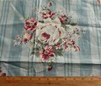 "Vintage c1940 American Rose Chintz On Blue Stripe Fabric~L-18""X W-20"""