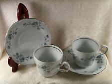 Johann Haviland Blue Garland Traditions Fine China  Set of 2 Flat Cups & Saucers