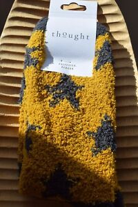 Thought Recycled Polyester Fluffy Yellow Star Ankle Length Socks Size 4-7 Eco
