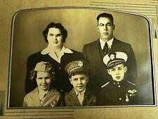 Vintage Photo Military Family Kids in Uniform Hats Children Photograph Portrait