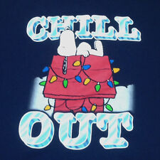Mens Peanuts Snoopy Chill Out Graphic T-Shirt Tee XL Navy Blue Christmas Xmas