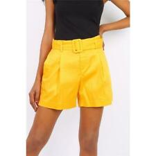 Loose Ladies Summer Shorts with High Waist Incl. Belt Yellow #H1799