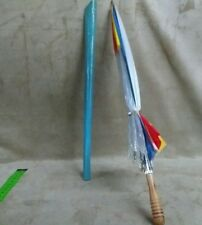 Vintage 1970'S Dome Umbrella-Clear With multi color Wood Handle