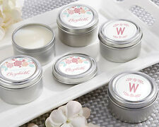 96 Personalized Rustic Bridal Shower Round Candle Tins Wedding Favors