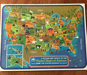 1968 Golden United States of America Picture Map Puzzle Name The States Puzzle