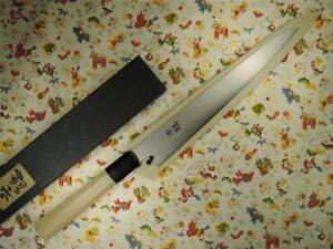 Ashi Hamono Ginga White Steel Wa-Sujihiki Japanese Knife 240mm with Saya