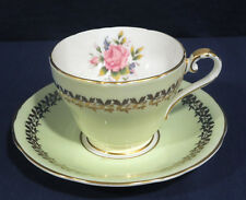 Aynsley Bone China Light Green w/ Gold Design Red Rose Tea Cup and + Saucer Set