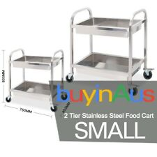 SOGA Stainless Steel Kitchen Trolley Cart 2 Tiers Dining Food Utility Small