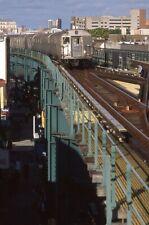 Nycta Kodak slide. R32 subway train at 124th St interlocking. Oldest cars in use