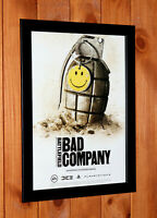 2008 Battlefield Bad Company PS3  Xbox 360 Old Rare Promo Poster Ad / Art Framed