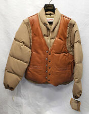 Vintage Schott NYC 199 Brown Goose Down and Leather Jacket and Vest Size 40 New