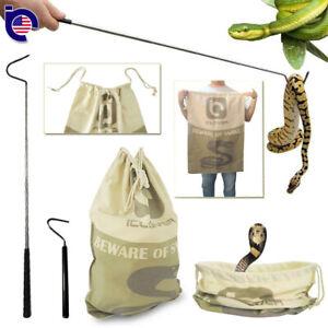 Extendable Pocket Snake Hook Reptile Tongs + Large Snake Drawstring Catcher Bag