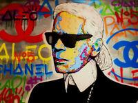 "Alec Monopoly Print on Canvas Graffiti art wall decor Karl Lagerfeld 28x40"""