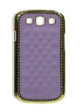 Luxury Golden Diamond Hard Case Leather Cover f Samsung Galaxy S3 I9300 - Purple