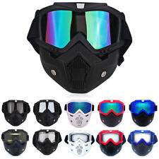 Windproof Skiing Snowboarding Sunglasses Detachable Face Mask Goggles Eyewear