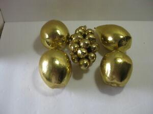 Lot 5 pcs Artificial Decorative Fruit Gold Painted Wood Grapes Apples Pears