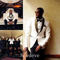 Man White Black Suits Groomsman Men's Wedding/Prom 3 Piece Suits Groom Tuxedos