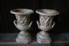 A Pair of Grecian Pottery Jardinieres Depicting Carved Grecian Men And Women